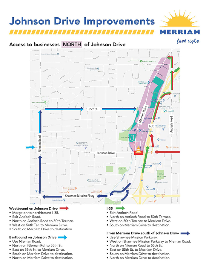 sample construction detour map